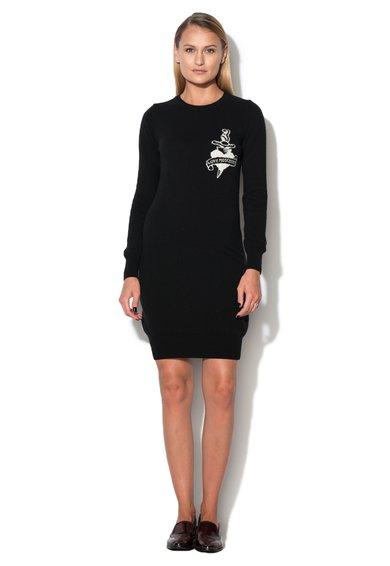 Rochie-pulover neagra din amestec cu lana