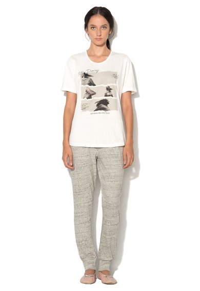 Pijama alb prafuit cu gri melange Anouk de la Esprit Bodywear