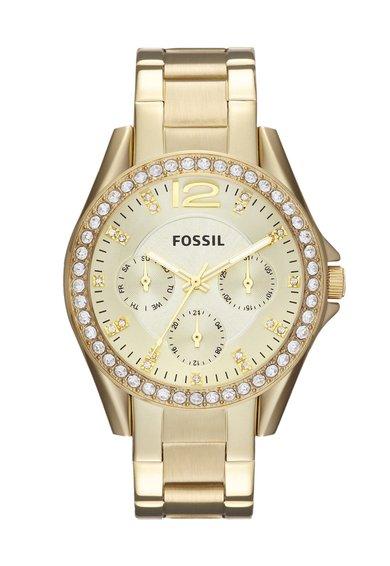 Ceas auriu decorat cu cristale Riley de la Fossil
