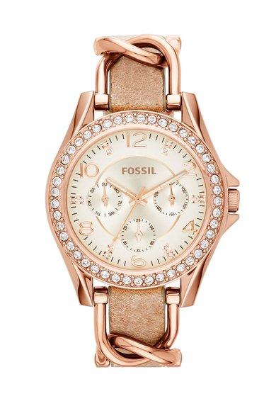 Fossil Ceas auriu rose cu cristale Riley