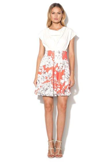 Rochie alb prafuit si corai cu imprimeu floral
