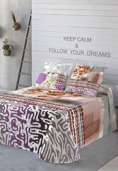 FashionDays.ro: Cuvertura de pat alba cu diverse imprimeuri multicolore Brian Naturals