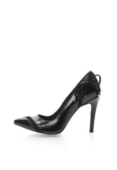Pantofi negri de piele si piele intoarsa cu toc stiletto de la John Galliano