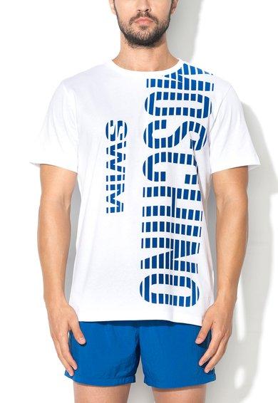 Tricou alb cu imprimeu pentru plaja