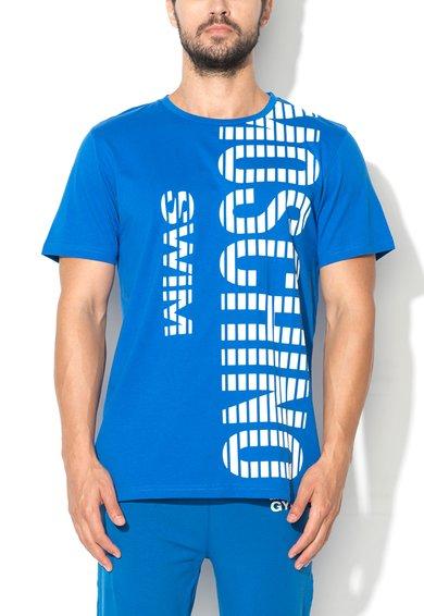 Tricou pentru plaja albastru cu imprimeu text