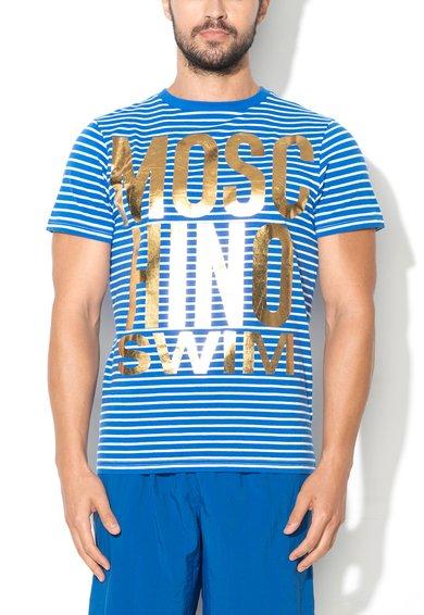 Tricou pentru plaja albastru cu alb in dungi