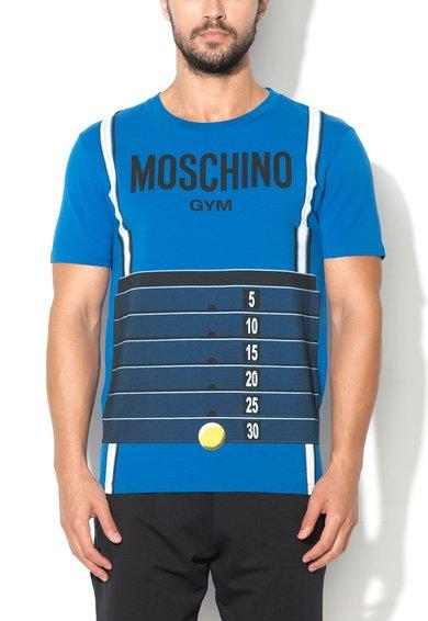 Tricou de casa albastru cu imprimeu Moschino
