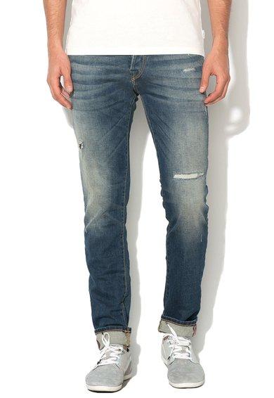 Jeansi albastri slim fit cu aspect deteriorat Glenn de la Jack&Jones