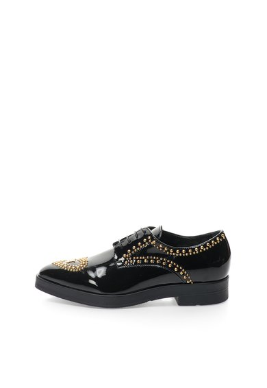 Love Moschino Pantofi negri lacuiti cu nituri aurii