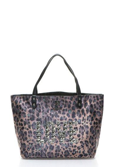 FashionDays.ro: Geanta maro fango cu animal print si strasuri Love Moschino