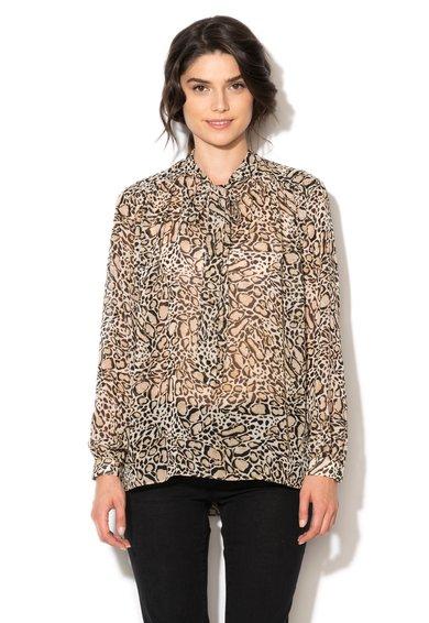 FashionDays.ro: Bluza transparenta bej cu negru si animal print Ipekyol
