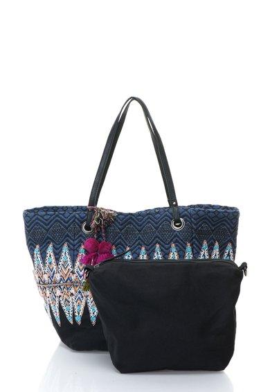 Geanta shopper multicolora din material textil Uma de la Desigual