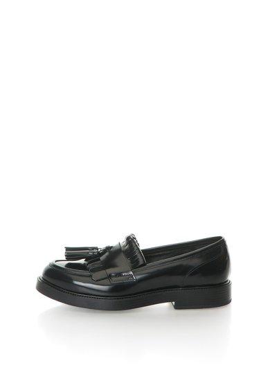 Pantofi loafer negri de piele Scudetto