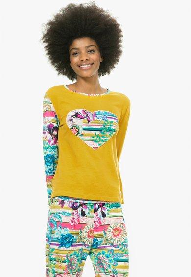 Bluza de casa galben mustar cu imprimeu Paisley Bloom de la Desigual living