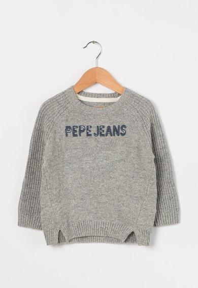 Pulover gri melange cu aplicatie logo Georgia de la Pepe Jeans London