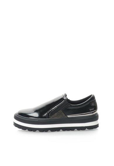 Pantofi slip-on flatform negri lacuiti Steffi de la GAS