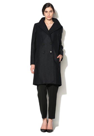 Palton negru cu model herringbone Winter Night