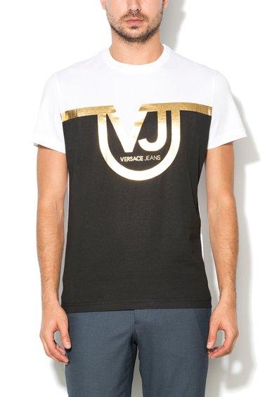 Tricou regular fit alb cu negru si logo auriu de la VERSACE JEANS
