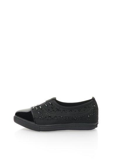 FashionDays.ro: Pantofi slip-on negri cu strasuri si varf ascutit Colors of California