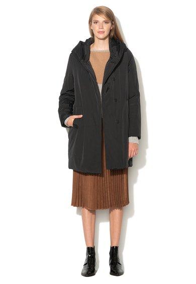 FashionDays.ro: Jacheta lunga neagra cu gluga Pennyblack