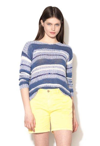Pepe Jeans London Pulover in nuante de albastru tricotat cu perforatii Peonia