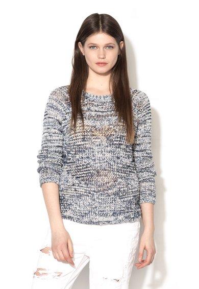 Pulover bleumarin melange cu alb tricotat cu perforatii Bauta de la Pepe Jeans London
