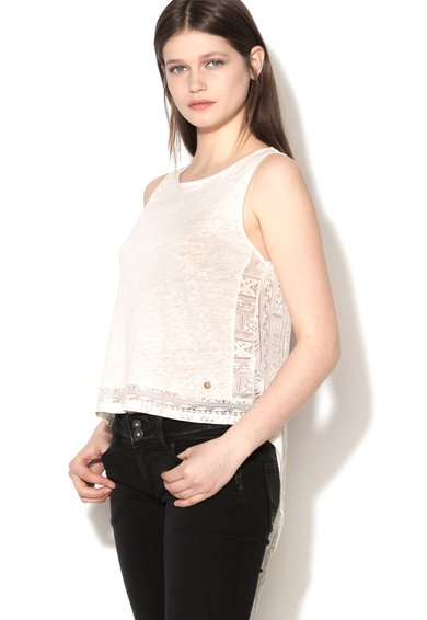 Pepe Jeans London Top alb cu spate din dantela Margaret