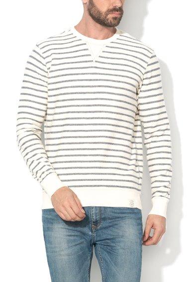 FashionDays.ro: Bluza sport alb unt cu bleumarin in dungi Flemington Pepe Jeans London