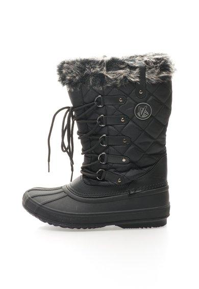 FashionDays.ro: Cizme negre cu garnitura din blana sintetica Elsa Kimberfeel