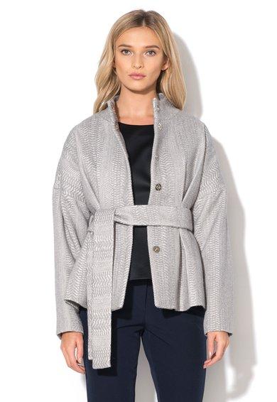 FashionDays.ro: Jacheta gri texturata cu cordon in talie NISSA