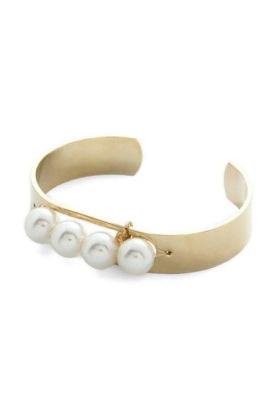 Bratara rigida aurie cu perle sintetice de la M by Maiocci