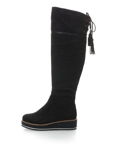 Cizme negre de piele intoarsa sintetica pana la genunchi de la Oakoui