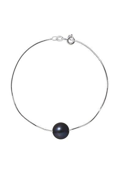 Bratara argintie cu perla neagra de la Perles Addict