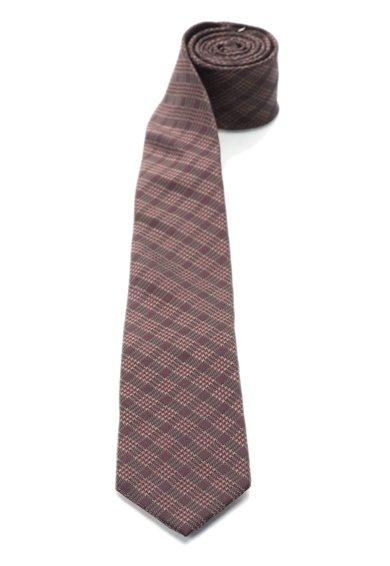 Cravata maro inchis cu Bordeaux de matase in carouri