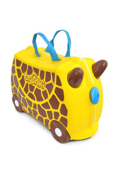 Trunki Geanta de voiaj ride-on galben cu maro Gerry The Giraffe