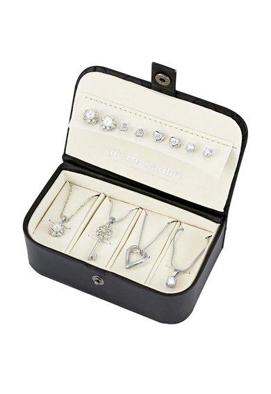 Pierre Cardin Set argintiu de coliere si cercei – 8 piese