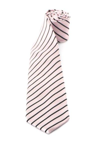 Cravata roz deschis cu negru de matase cu dungi
