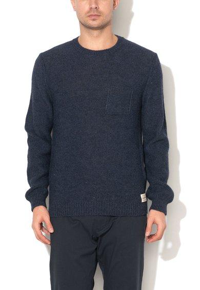Pulover albastru prafuit din amestec cu lana si lana alpaca de la United Colors Of Benetton