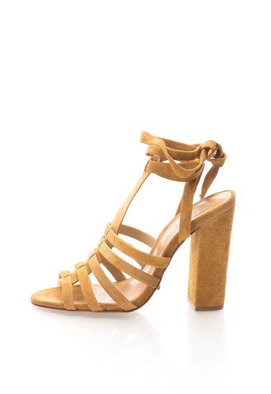 Sandale infasurabile galben sofran de piele intoarsa de la Schutz