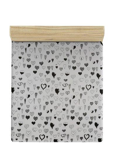 Leunelle Cearsaf de pat alb cu imprimeu cu inimioare