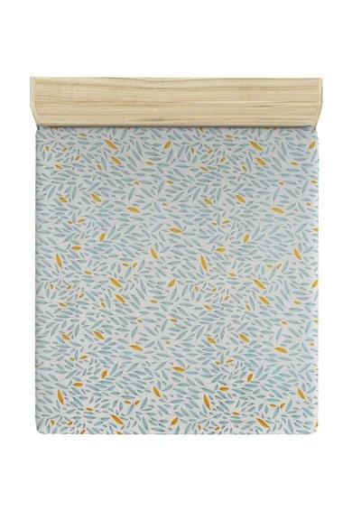 Leunelle Cearsaf alb de pat cu frunze albastre si oranj