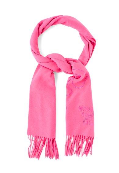 Fular roz de lana cu franjuri de la Moschino Cheap and Chic