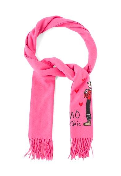 Fular roz de lana merinos cu detaliu cusut de la Moschino Cheap and Chic