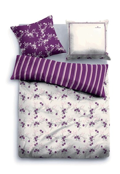 Tom Tailor Home Set de pat bej cu violet si model floral