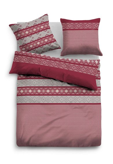 Tom Tailor Home Set de pat bordeaux cu gri din flanel cu model etnic