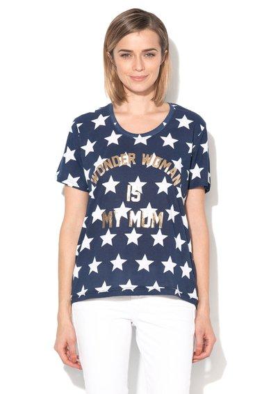 FashionDays.ro: Tricou bleumarin cu alb si imprimeu auriu Wondgirl Eleven Paris