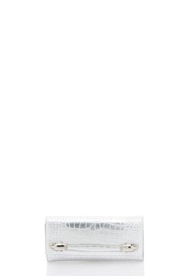 Geanta plic argintie de piele Pantera Obsession de la CAVALLI CLASS