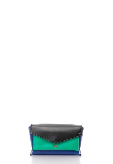 Geanta crossbody verde cu albastru de piele First Class de la CAVALLI CLASS