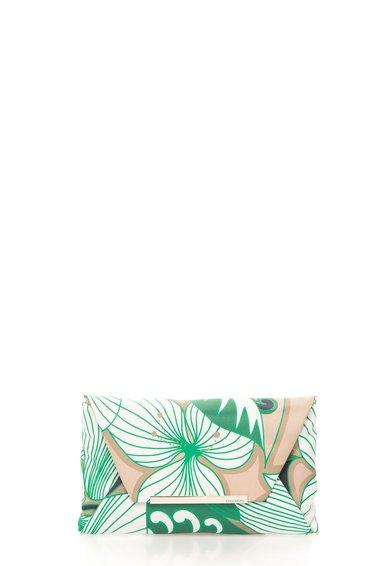 COCCINELLE Geanta plic alb cu verde si imprimeu New Bibi