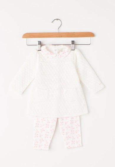 Set de bluza si pantaloni alb cu roz